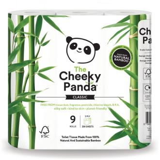 Cheeky Panda toaletní papír 3-vrstvý, 200 útržků 9 rolí