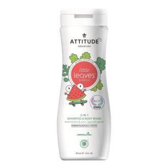 Dětské tělové mýdlo a šampon (2v1) Attitude little leaves s vůní melounu a kokosu 473ml