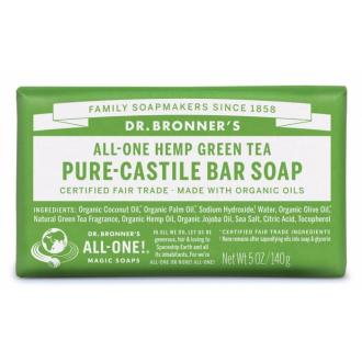 Dr Bronners BIO tuhé mýdlo - Green Tea 140g