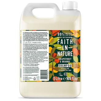 Kanystr 5 litrů Faith in Nature přírodní šampon Grapefruit&Pomeranč