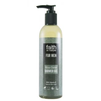 Faith For Men přírodní sprchový gel BIO s pumpičkou Modrý cedr 250ml