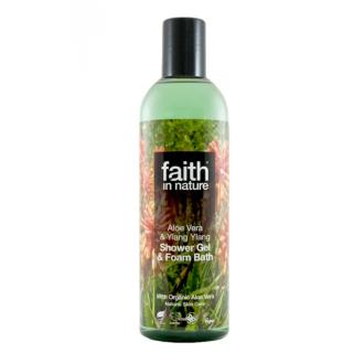 Faith in Nature přírodní sprchový gel/pěna BIO Aloe/Ylang 250ml
