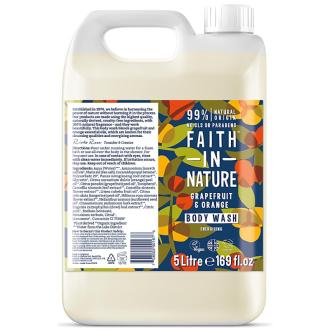 Kanystr 5 litrů Faith in Nature přírodní sprchový gel Grapefruit&Pomeranč