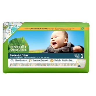 SEVENTH Generation dětské pleny Mini 1 (4-6 kg) malé balení 40 ks HYPOALERGENNÍ